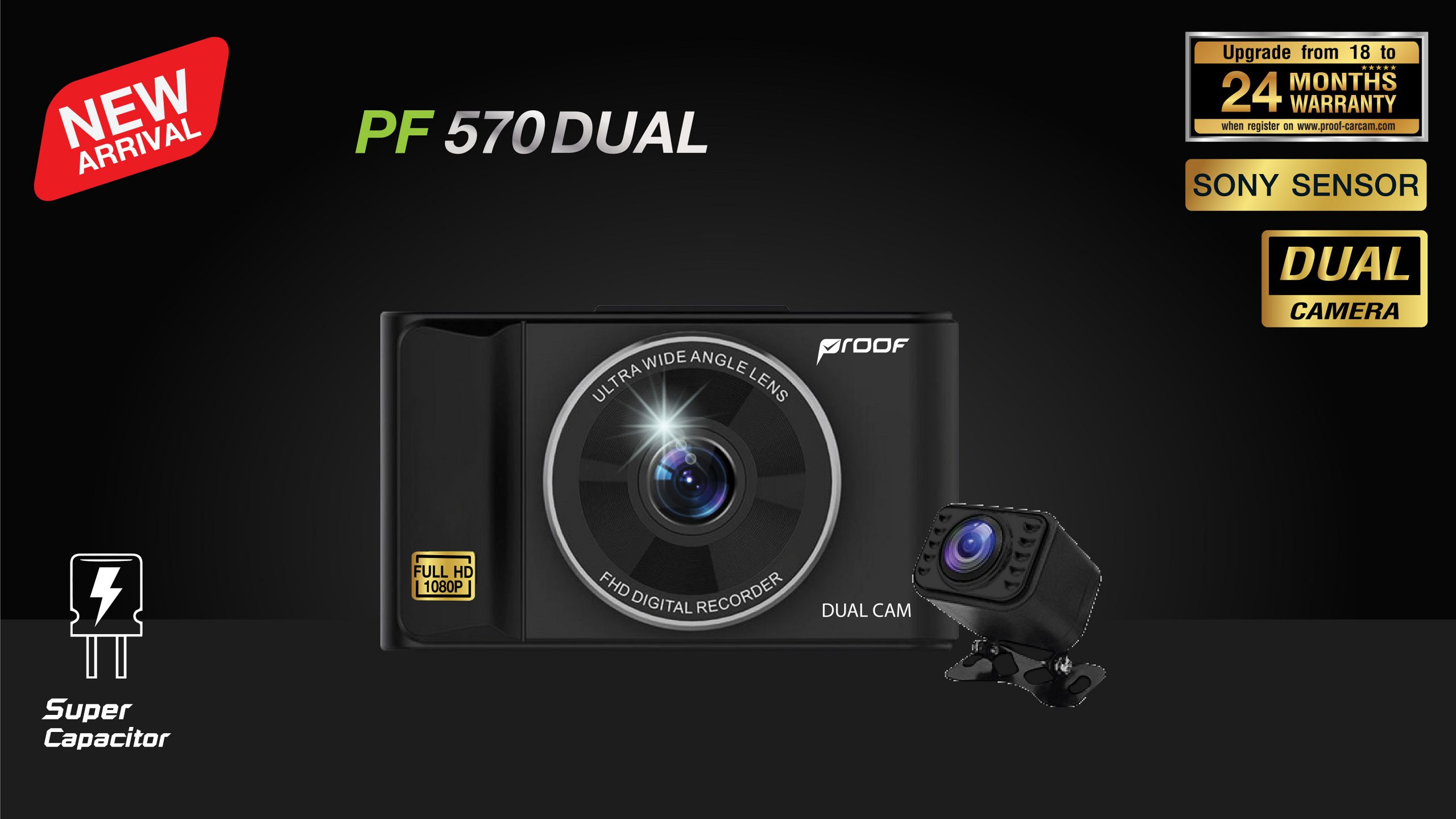 กล้องติดรถยนต์หน้า-หลัง PF570 Dual